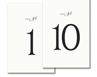 Tented White with Black Numbers Table Numbers • 1-10, 11-20 OR 1-20