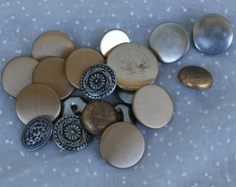 19 Buttons, A Variety of Vintage Silver and Gold Tone for your Crafting Needs