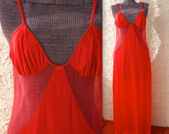 Vintage 1970s Sexy Sheer Red Cutout Maxi Nightgown - Medium Valentine's Day