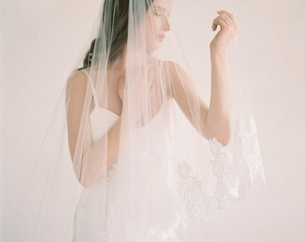 Cathedral lace veil with blusher, 2 tiers cathedral lace veil, ivory lace cathedral veil, cathedral wedding veil, bridal veil, Larissa Veil