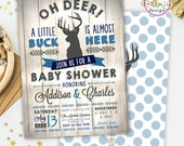 BABY BOY Shower Invitation, Little Deer Baby Shower, Deer Baby Shower Invitation, Little Buck Baby Shower Invite, Hunting Baby Shower, Arrow