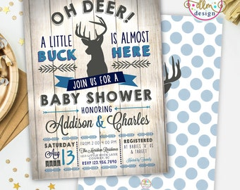 BABY BOY Shower Invitation, Little Deer Baby Shower, Deer Baby Shower Invitation, Hunting baby, Arrow Baby Shower Invite, Rustic Baby Invite