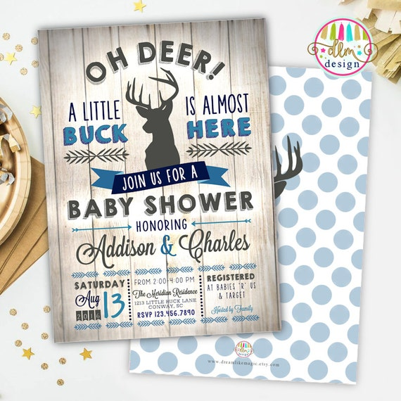 BABY BOY Shower Invitation, Little Deer Baby Shower, Deer ...