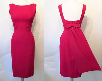 Charming 1950's Fuchsia Cocktail Party Holiday Dress w/ Cute Dramatic Bow & Panel Detail in Back Rockabilly VLV Hourglass Vixen Size-Medium