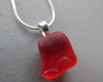 Red Sea Glass Jewelry, Red Sea Glass Pendant,  Red Beach Glass Jewelry,  Red Sea Glass Necklace, Gift for Her