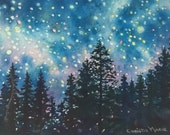 ORIGINAL FINE ART Grand Galaxy, Starry mountain night, Deep Blue, celestial, watercolor painting, stars for baby room art, bedroom wall art