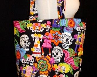 Day of the Dead Tote Bag - Dia de los Muertos Skull Bag