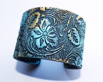 Yesterday is gone blue and gold polymer clay cuff bracelet