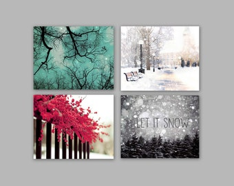 Sale - Winter Wall Art Set of 4 Prints, Snow Decor, Teal Black White Red Wall Art- Christmas Trees, Save 50%