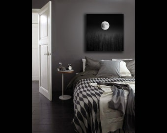 Full Moon Print on Canvas, Black and White Photography, Super Moon, Canvas Wall Art, Moon Decor