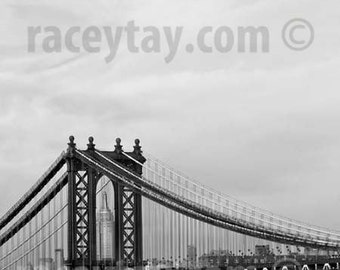 Black and White New York Photography, Manhattan Bridge, Empire State Building, New York City Print