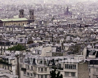 Paris Photography, Purple, Mint, Roofs, Travel, Paris Skyline, Mint Green, Purple, Paris Wall Decor, Paris Print