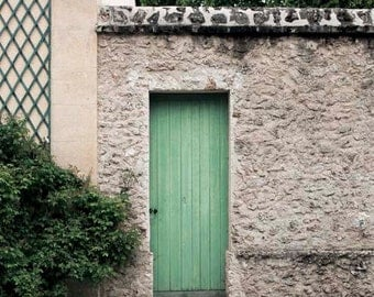 Paris Print, Mint Green, Gray, Beige, Door, Rustic, Architecture, Paris Photography, Pastel Decor, Mint and Gray