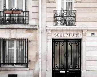 """Paris Photography, Black, Beige, Neutral, Door Print, Rustic, Paris Decor, Art Nouveau Door, """"Sculpture"""""""