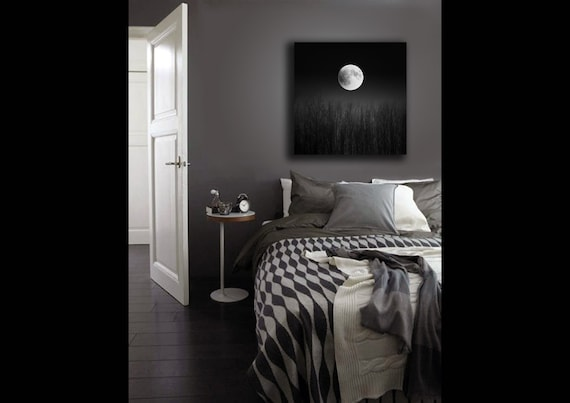 Full Moon Print on Canvas, Black and White Photography, Super Moon, Canvas Wall Art, Halloween Decor