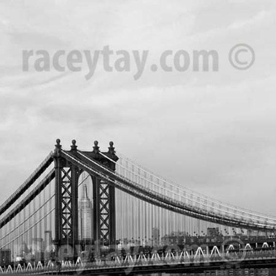 Black and White New York Photography, NYC Art, Men, Manhattan Bridge, Empire State Building, New York City Print