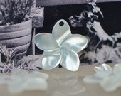 SALE! 10pcs White Mother of Pearl Shell Flowers 17mm, Top Drilled Plumeria Charms for Earrings -(V1164)