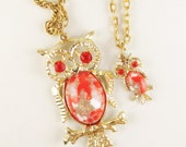 Vintage Owl Necklace with Orange Rhinestones and Cabochons