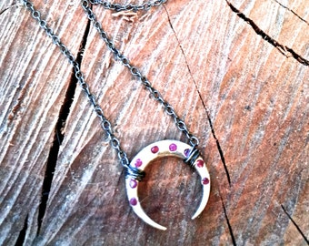Sterling Silver Crescent Moon Necklace with Ruby Gemstones