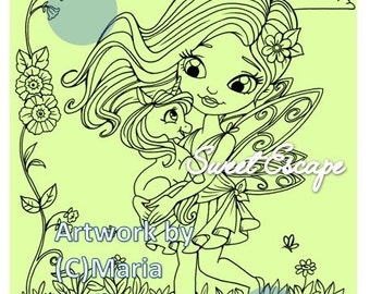 1 Fairy and Baby unicorn Digital Coloring Page