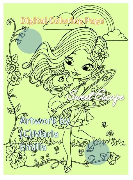 unicorn and fairy coloring pages - 1 fairy and baby unicorn digital coloring page
