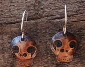 copper skull earrings