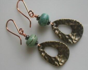 earrings-handmade brass and turquoise earrings-dangle earrings-drop earrings-gemstone earrings