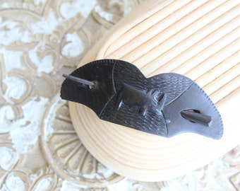 hand carved ebony wood pin barrette / african