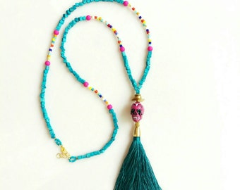 Turquoise Tassel Necklace, Boho Necklace, Sugar Skull Statemenet Necklace, Day of the Dead, Dia De Los Muertos Jewelry
