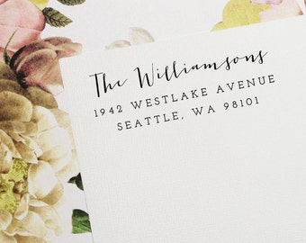 Return Address Stamp, Custom Stamp, Self-Inking Stamp - Style #01, Wood Mounted or Self-Inking Address, Wedding Stamp, Personalized Stamp