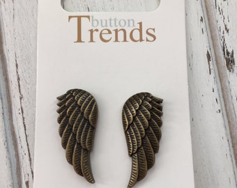 Wing Buttons Carded Set of 2 by Button Trends #4628