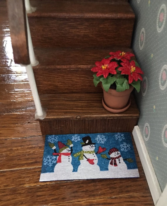 Miniature Christmas Snowman Welcome Mat Rug, Dollhouse Miniature, 1:12 Scale, Dollhouse Accessory, Holiday Decor, Dollhouse Mat, Door Mat
