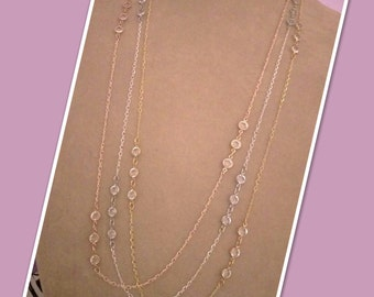 Delicate Chain Swarovski Crystal Channel Link Necklace