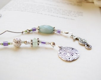 Summer Beach Reading Bookmark - Girl Gift for Friends and Book Club Sand Dollar Seahorse Book Thong - Beaded Bookmark wth Silver Charms