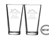2 Home Sweet Home Personalized Drinking Glasses, Great New Home Gift, Hostess Gift, Realtor gift for Clients, House Warming Gift, New Home