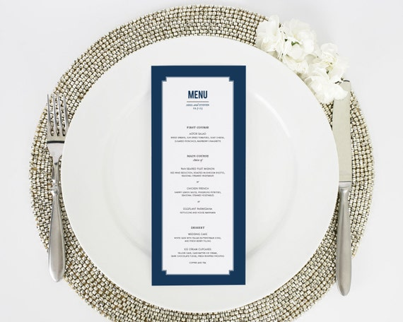Wedding Menu - Dinner Menu - Elegant Border Design - Deposit