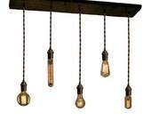 Shabby Chic Reclaimed Wood Chandelier Pendant 5 lights Urban Chandelier Rustic lighting Dining chandelier wedding Edison Bulbs