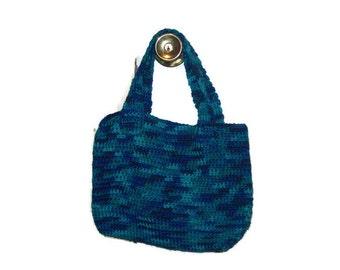 Tote Bag Crochet Bag Handmade  Colorful Bag  Small Tote Bag In Macaw Blue Green Crochet Bag