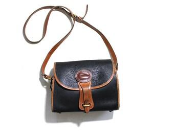 Vintage Dooney and Bourke Bag / Dooney and Bourke Satchel / Dooney Leather Saddle Bag / Dooney Essex Bag / Black Leather Satchel