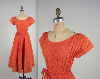 1940s maze quilted dress • vintage 40s dress • orange day dress