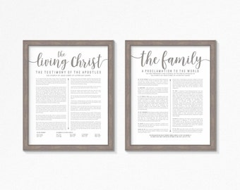 LDS The Living Christ and Family Proclamation Printable-Choose your Sizes-Digital Files-Grey Text
