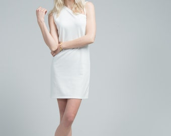 White Dress / Shift Dress / Casual Short Dress / White Tunic / Sleeveless Dress / One Shoulder Dress / marcellamoda - MD636