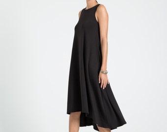 Black Summer Dress / Party Dress / Strapless Dress / Midi Dress / Oversize Dress / Loose Dress / marcellamoda - MD670