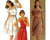 80s Peasant Off The Shoulder & Pillowcase Dress Pattern Style 3334 Vintage Sewing Pattern Size 8 10 12 Bust 31 1/2 32 1/2 34 inches