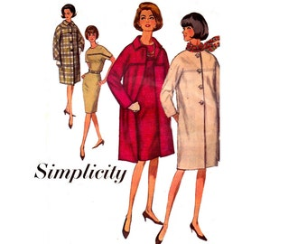 Simplicity 6128 60s Sheath Dress & Coat Pattern Mod Kimono Sleeves Ensemble Vintage Sewing Pattern Bust 36 Inches UNUSED Factory Folded