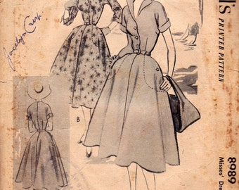 50s Full Skirt Rockabilly Shirtdress Pattern McCall's 8989 Vintage Sewing Pattern Size 14 Bust 32 inches