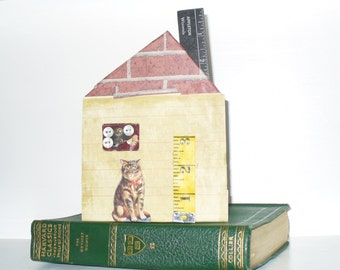 Primitive Tiny House with Gray Tabby Cat Collage