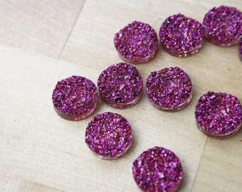 10 Druzy Drusy Round Cabochons Resin Quartz Imitation 12mm Purple Confetti [CAB7282]