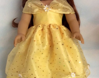 18 inch doll clothes - #702 Yellow Belle Gown made to fit the American Girl Doll - FREE SHIPPING