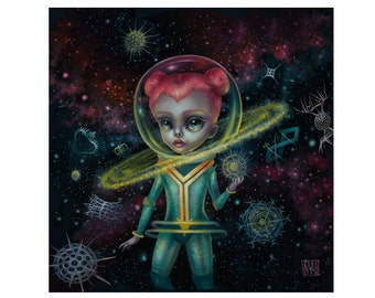 Andromeda and the Celestial Protista - Limited Edition signed numbered 12X12 Pop Surrealism Fine Art Print - by Mab Graves -unframed